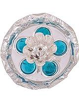 Jaipur Trade Silver Plated Diya (10 cm x 10 cm x 1.5 cm, Silver)