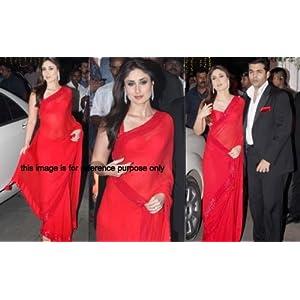 Kareena red Indian Ethnic Designer Bollywood Party Wear Saree Sari Traditional Women Wedding