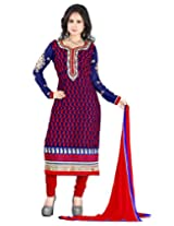 Lookslady Embroidered Dark Blue Georgette Semi Stitched Salwar Suit
