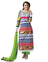 Vibes Womens Georgette Patch Work Straight Unstitched Dress Material (V205-2 _Multi-Coloured)