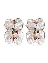 Aaishwarya White Floral Enamel Earrings