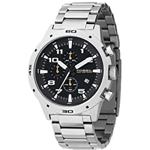 Fossil Silver Chronograph Men's Wrist Watch CH2517 Silver Metal Strap and black dail