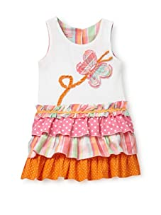 Beetlejuice Girl's 2T-6X Butterfly Kisses Tiered Sleeveless Dress (White)