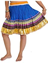 Exotic India Mini-Skirt Ghagra from Jaipur with Gota Border - Color Imperial BlueGarment Size Free Size