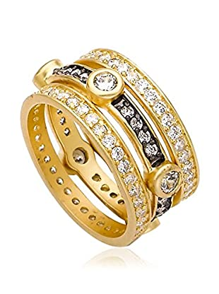 Riccova Cosmopolitan Satin 14K Gold Plated 3 Stack Ring with CZ Spacers