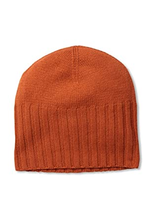 Cashmere Addiction Men's Solid Cashmere Skull Cap, Dark Orange