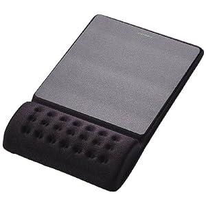 """エレコム 疲労軽減リストレスト一体型マウスパッド """"COMFY""""ハード(ブラック) MP-096BK"""