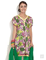 Panelled Kurti With Painted Effect Print-Dark Red-M