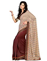 Riti Riwaz Brown & Off White Georgette Lace Border Casual Saree with Unstitched Blouse SDG5009B