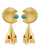 Gehnamart Yellow Gold Plated Turquoise Drop Earring