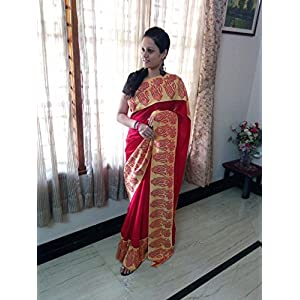 SevenFolds Beautiful Red Georgette Designer Saree
