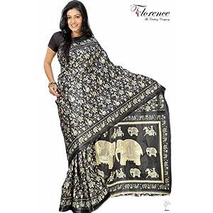 Florence FL-1213 Art Silk Saree-Black