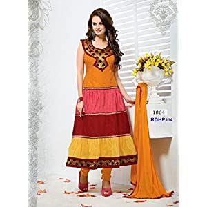 Rozdeal New Arrival Evelyn Sharma Orange Cotton Anarkali Suit