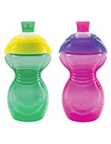 Munchkin Click Lock Bite Proof Sippy Cup, 9 Ounce, 2 Count (Green/Pink)