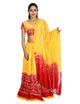 Rajrang Women Tie-Dye Lehenga Choli Orange