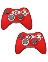 Hde 2 Pack Of Neon Candy Color Protective Silicone Skin Covers For Xbox 360 Game Controllers (Red)