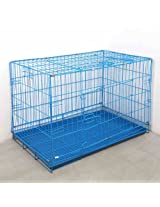 Summer Folding Stainless Steel Wire Cage for Dog Dog Kennel Dog Crate (Blue, L)