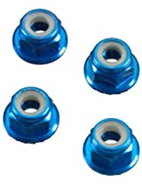 Axial AXA1046 Wheel Nut (4-Piece), M4 Serrated, Blue