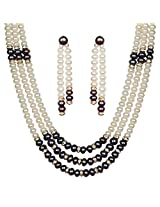 Classique Designer Silver Alloy With Gold Plated Round Pearl Necklace Set For Women(CP198)