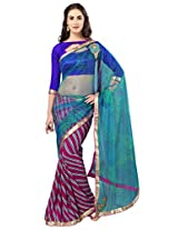 Admyrin Magenta and Blue Georgette Saree with Blue Dupioni Blouse