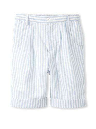 Rachel Riley Boy's Linen Striped Shorts (Blue/Ivory)