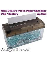 Gadget Hero's Desktop Paper Shredder Machine Dual Powered (Battery / USB) A4 Size (220mm)