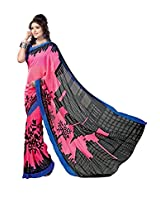 ANSS Elegant Faux Georgette Saree with Floral Print - Pink&Black