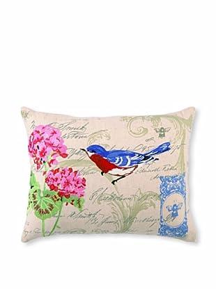 "Kathryn White Bluebird and Auricula Pillow, Pink/Blue, 14"" x 18"""