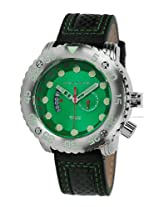 Android DM Gauge AD628BGR 55MM GMT Swiss Quartz Analog Green Dial Men's Black Leather Watch