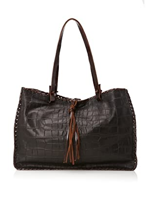 Carla Mancini Women's Stitched Shoulder Bag (Black Croco)