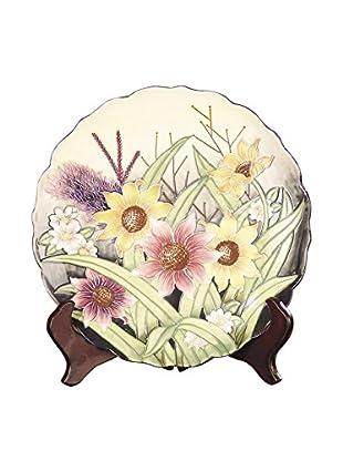 Dale Tiffany English Garden Decorative Plate, Cream Multi
