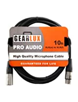 Gearlux 10-Foot Balanced XLR Microphone Cable with Oxygen-Free Copper Conductor - Male to Female