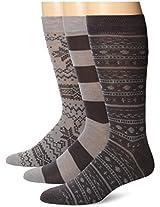Muk Luks Men's Microfiber Crew Socks 3 Pair Pack Grey