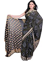 Black Bandhani Tie-Dye Sari From Rajasthan with Brocaded Border on Anchal