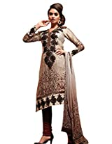 Anvi Creations Cream Beige Georgette Dress Material ( Cream Beige_Free Size)