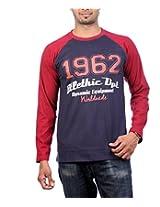 UK Tribes Men's Round Neck Cotton T-Shirt(UKT041_NAVY BLUE_40)