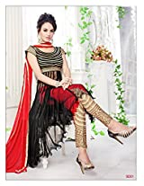 Fabliva New Stylish And Attractive Red And Black Anarkali Suit