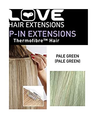 Love Hair Extensions Einteilige Thermofiber-Clip-In-Extensions Farbe Pale Grün - 46cm, 1er Pack (1 x 22 g)
