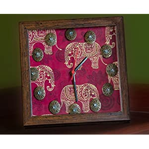 Footprints Forever Red Elephant Clock