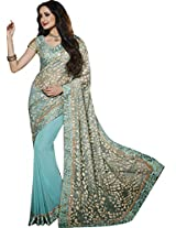 Sapphire Fashions Women's Blue Net Sari