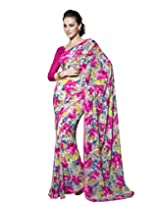 Suvastram Georgette Saree With Blouse Piece (Surs1311 -Pink)