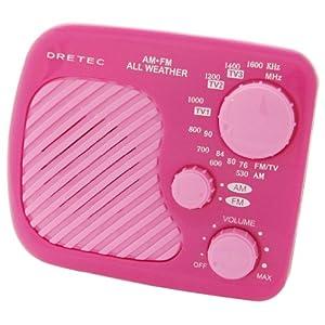 【クリックで詳細表示】DRETEC AM/FM 防滴ラジオ 「ラーク」 ピンク PR-315PK