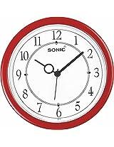 SONIC Red round Plastic Analogue Quartz