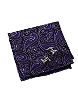 EEF1B08C Purple Adults Day Pocket Square Woven Microfiber Black Patterned Handkerchief Cufflinks Set Wedding Anniversary Gift By Epoint