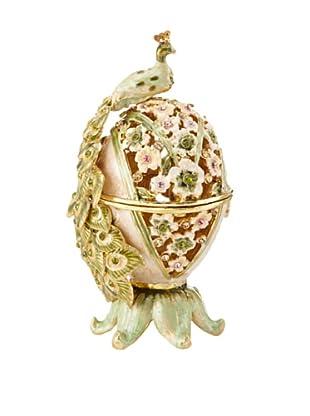 Legacy Judaica Jeweled Peacock Spice Box (Sage)