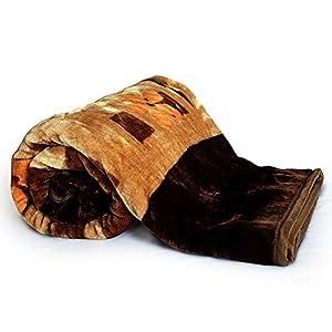 Little India Floral Designer Puffy Double Blanket - Dark Brown (DLI4SBK228)
