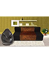 Dolphin Zeal 3 Seater Sofa Bed (Black & Gold) & XXL Bean Bag Cover Free ( Black)