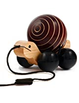 Maya Organic wooden pull toy with rotating ball - Tuttu Turtle (Brown)