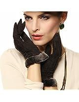Warmen Lady Geniune Pigskin Suede Leather Winter Warm Gloves Long Fleece Lining (M, Brown)