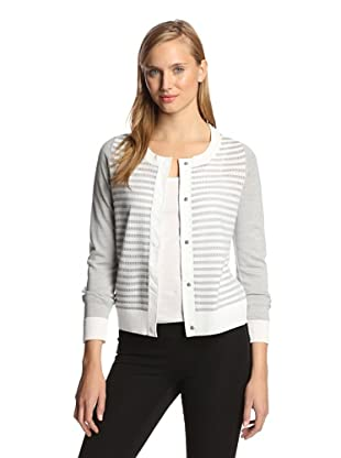 M.Patmos Women's Pointelle Stripe Boatneck Sweater (Grey Heather/White)